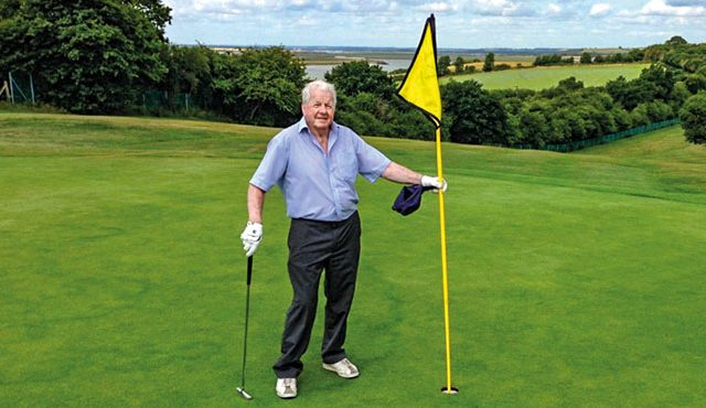 Club president, 90, beats his age by six
